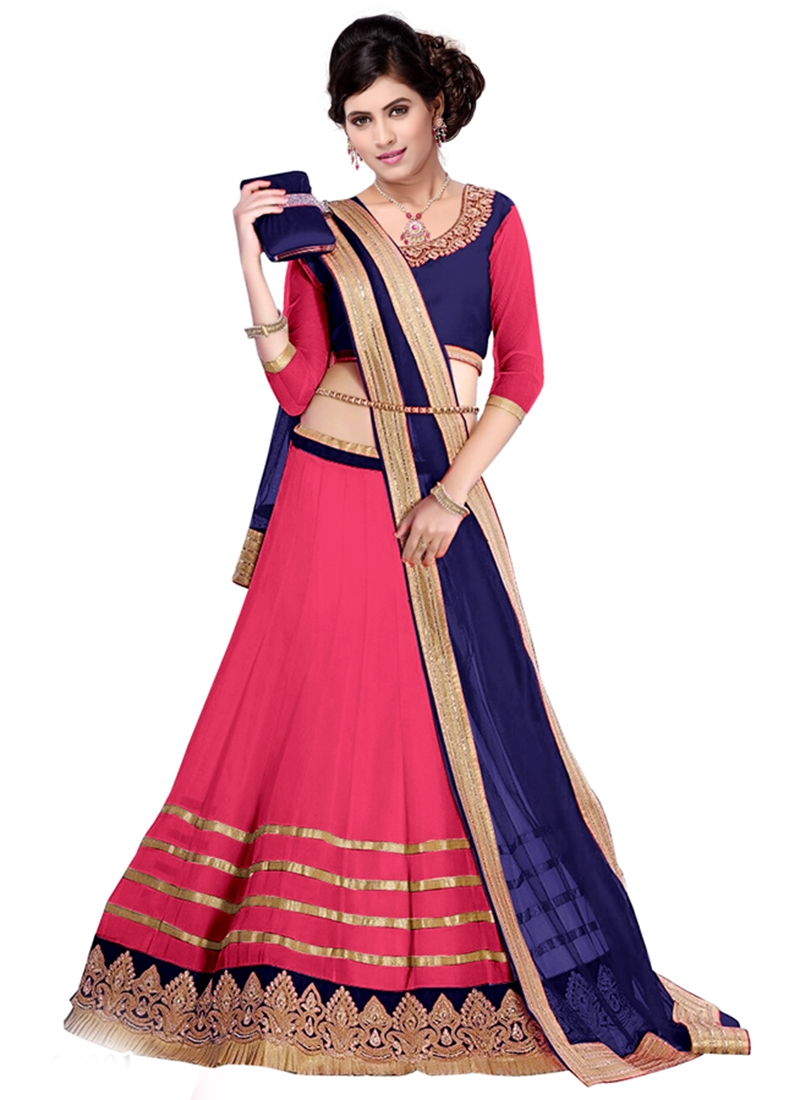 Energetic Rose Pink And Navy Blue Color Party Wear Lehenga Choli