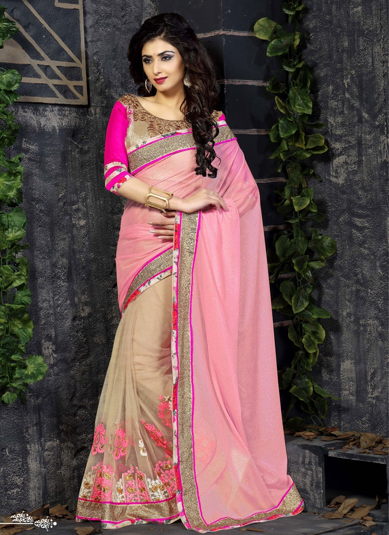 Energetic Sequins And Booti Work Half N Half Designer Saree