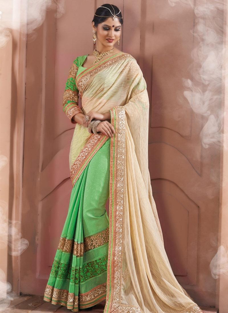Energetic Sequins Work Mint Green Color Half N Half Designer Saree