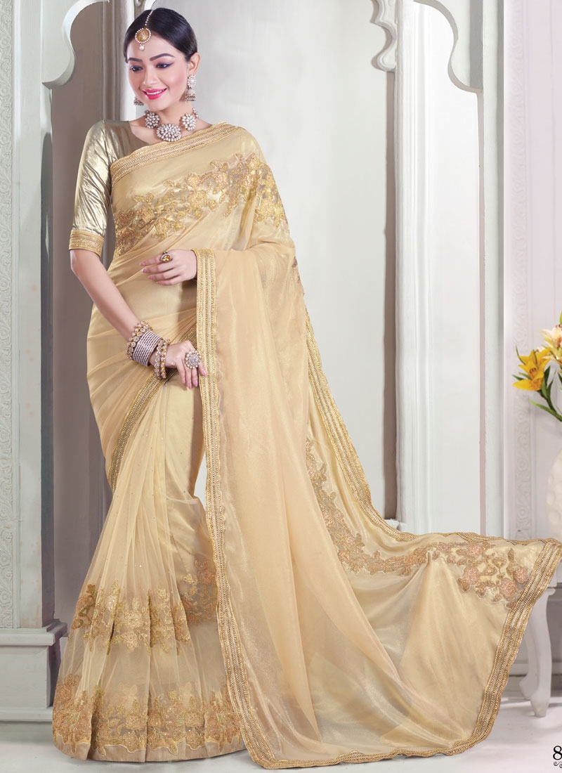 Energetic Stone And Resham Work Net Designer Saree
