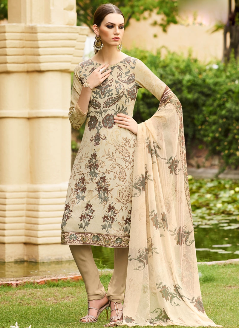 Energetic Stone Work Crepe Silk Churidar Salwar Suit