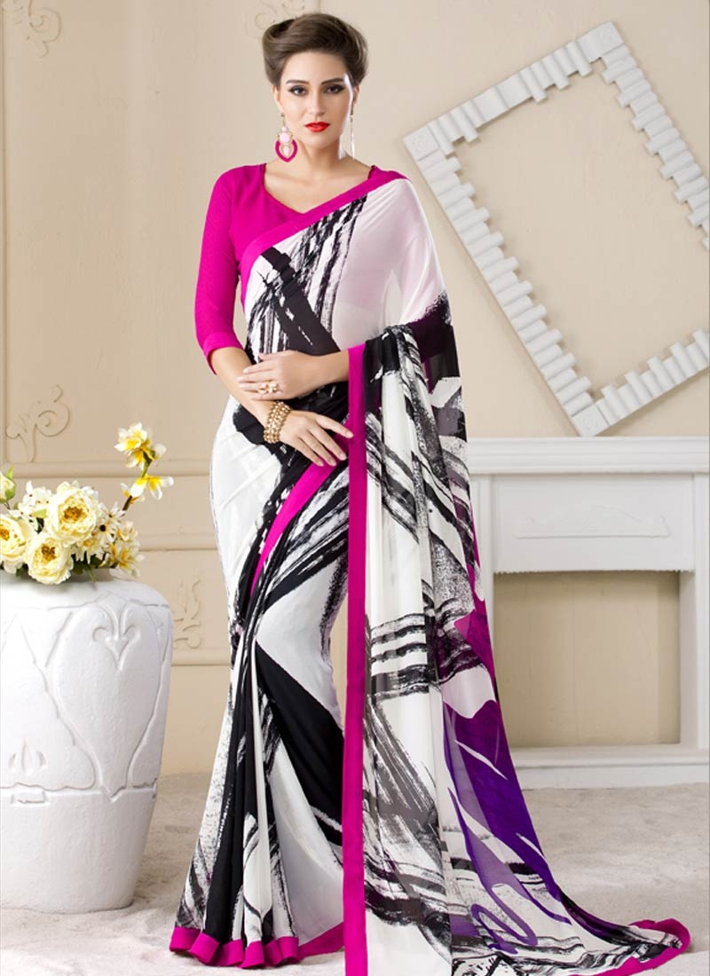 Engrossing Black And White Color Lace Work Casual Saree