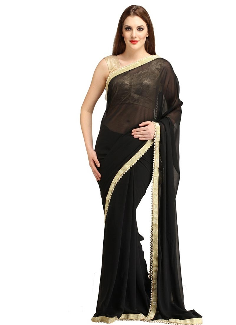 Engrossing Black Color Beads Work Casual Saree