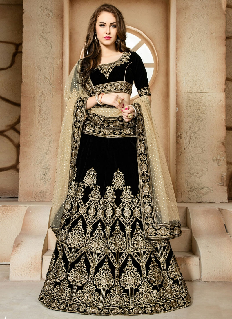 Engrossing Black Color Booti Work Designer Lehenga Choli