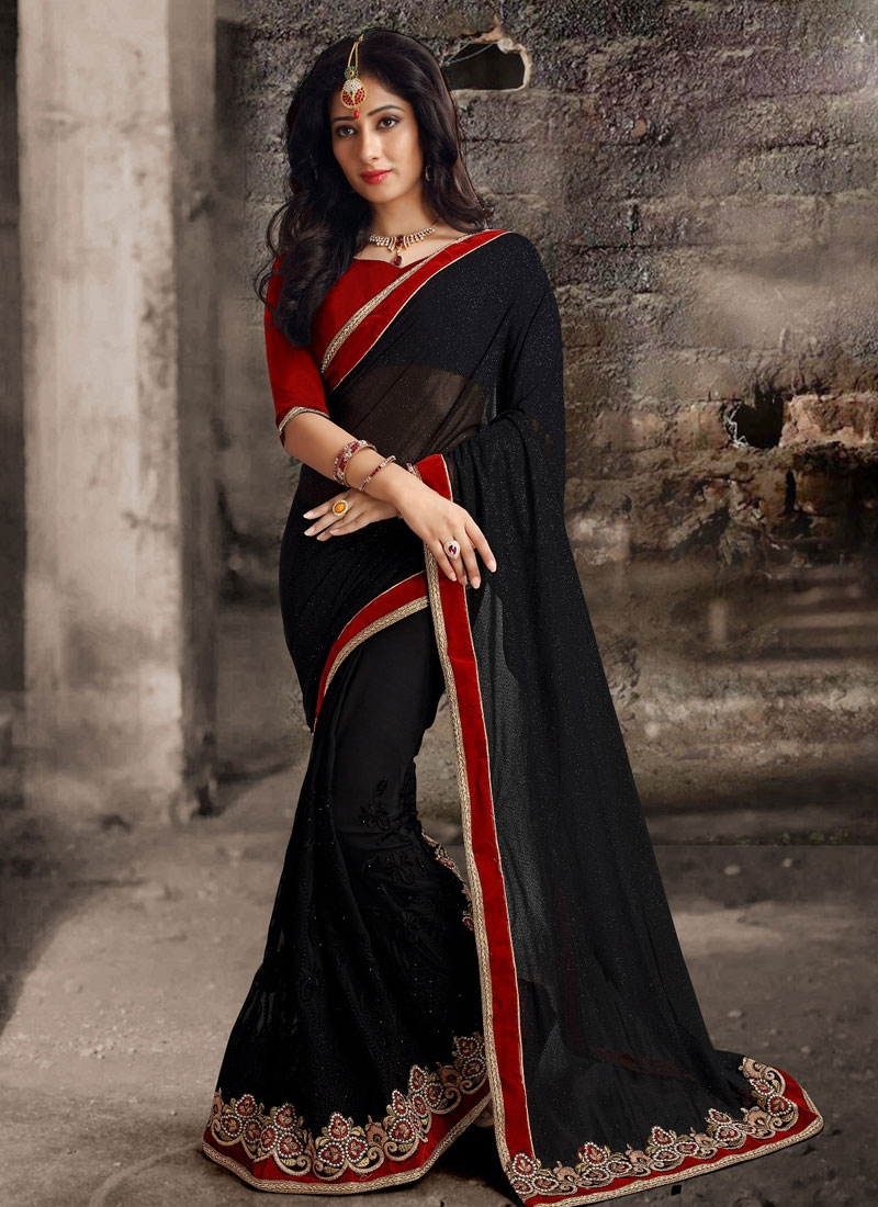 Engrossing Black Color Lycra Designer Saree