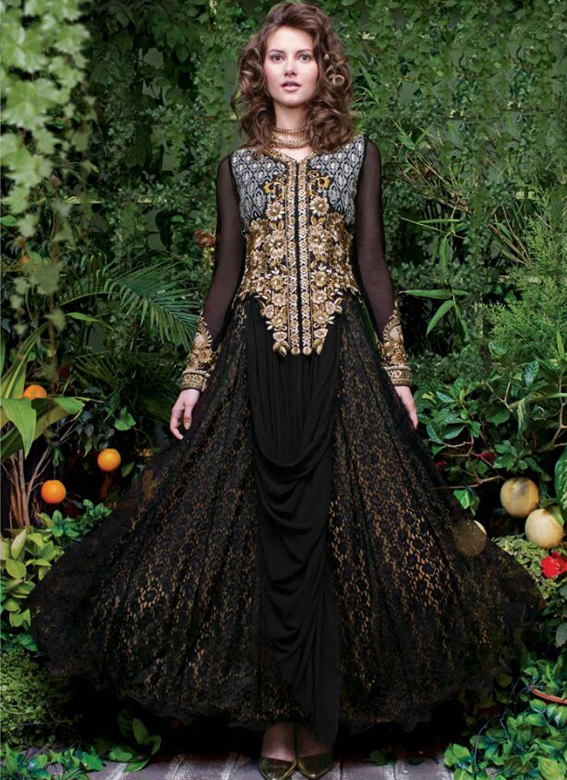 Engrossing Black Color Net Designer Readymade Gown
