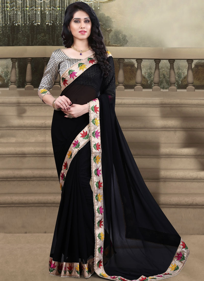 Engrossing Black Color Resham Work Party Wear Saree