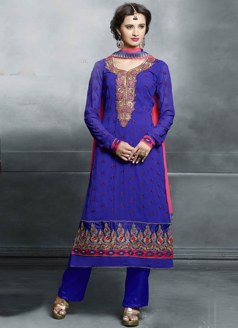 Engrossing Blue Color Pant Style Pakistani Suit