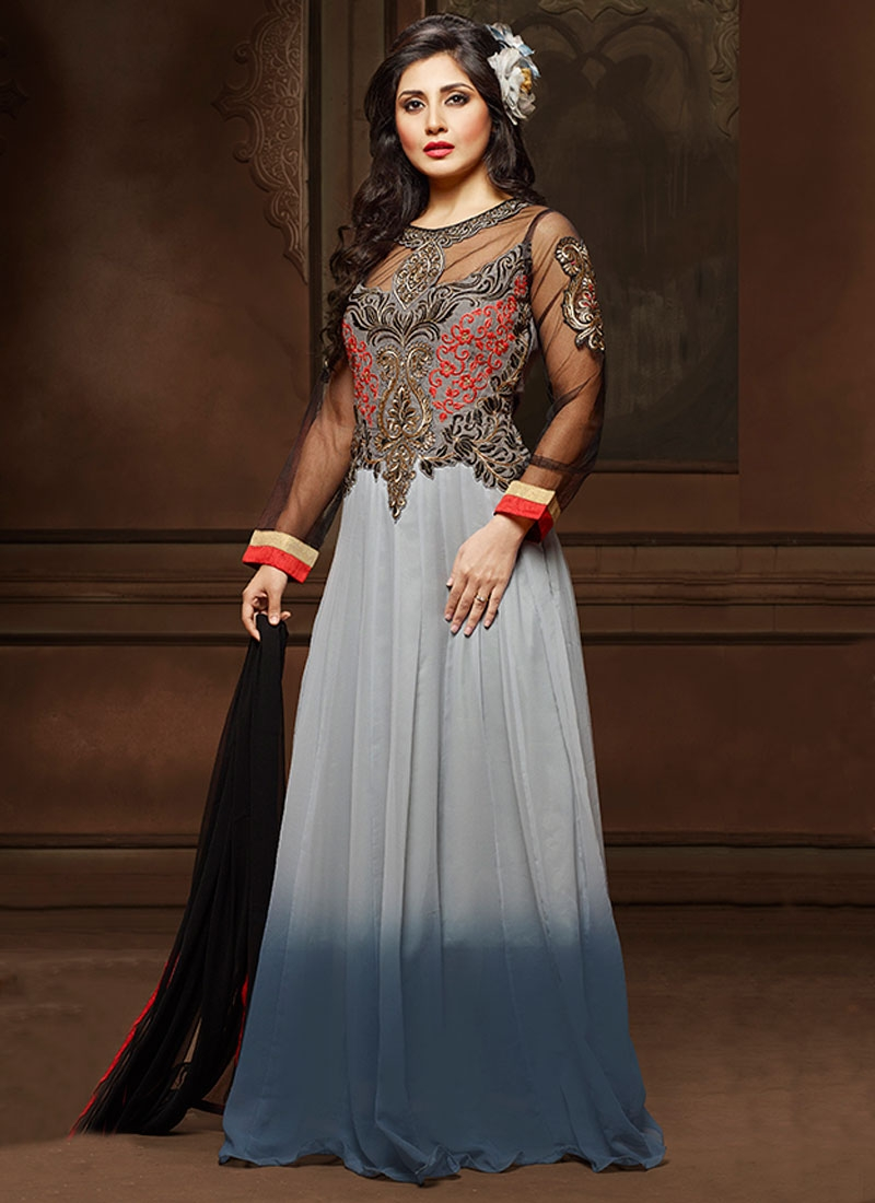 Engrossing Booti Work Grey Color Floor Length Designer Suit