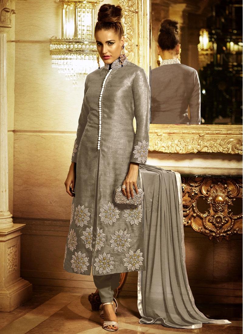 Engrossing Booti Work Pant Style Designer Salwar Kameez