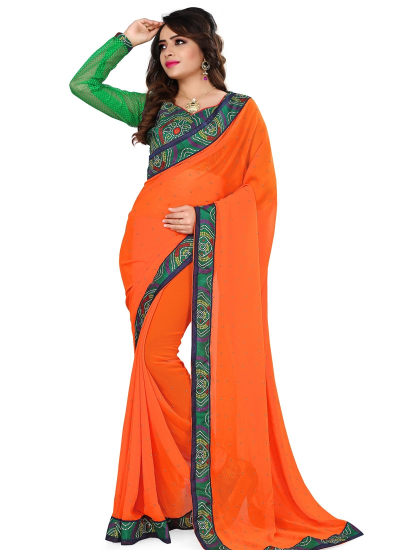 Engrossing Coral Color Casual Saree