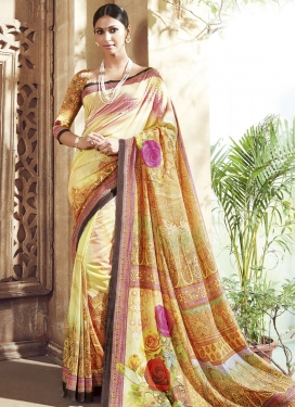 Engrossing Digital Print Work Cream Color Party Wear Saree