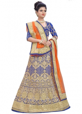 Engrossing Embroidered Work Silk Trendy A Line Lehenga Choli