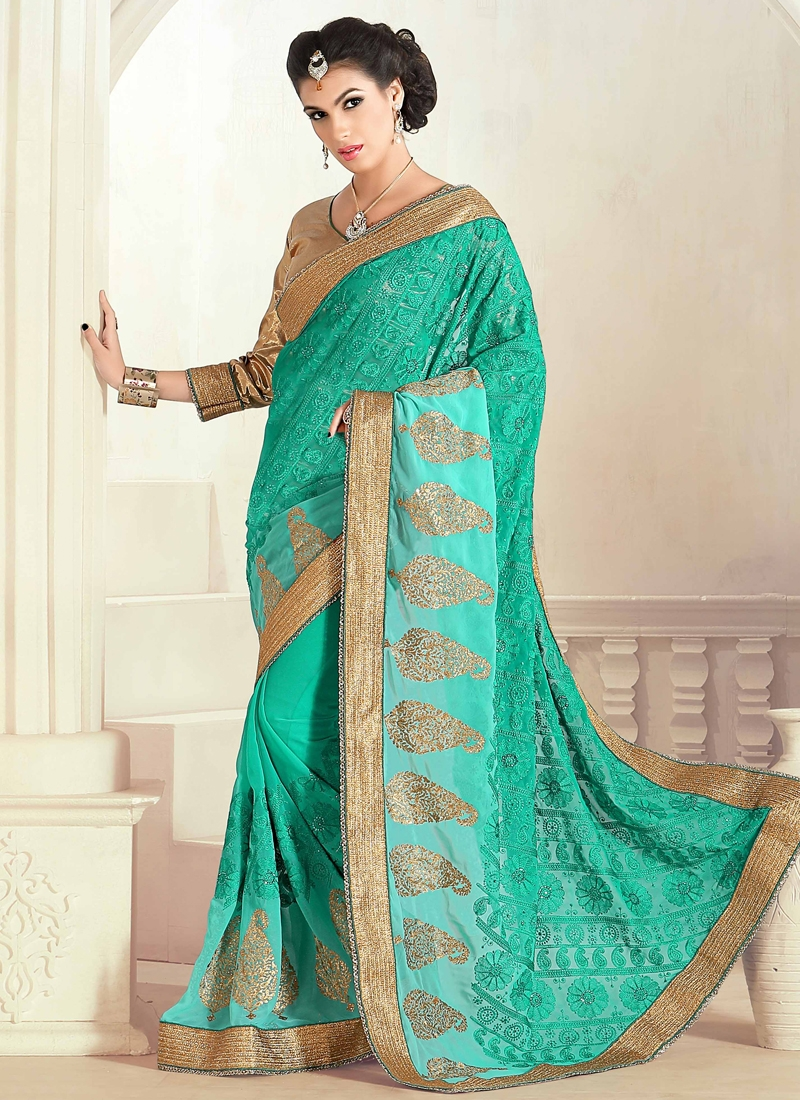 Engrossing Embroidery Work Designer Saree