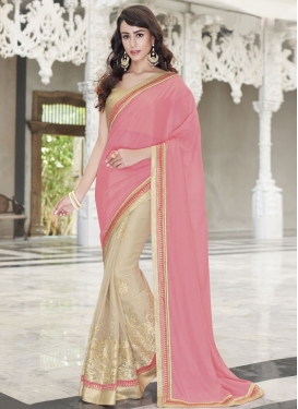 Engrossing Embroidery Work Satin Half N Half Designer Saree