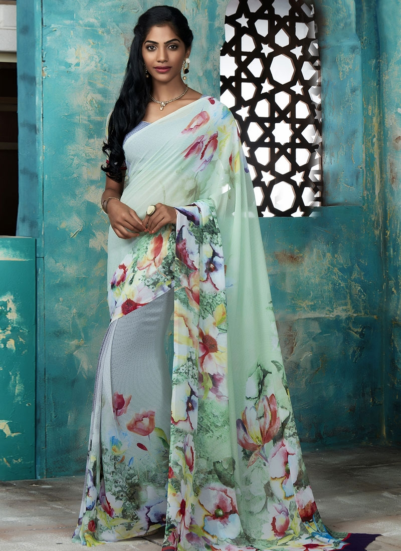Engrossing Faux Georgette Digital Print Work Casual Saree