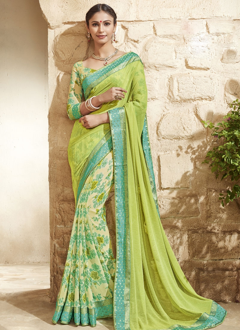 Engrossing Faux Georgette Lace Work Half N Half Party Wear Saree