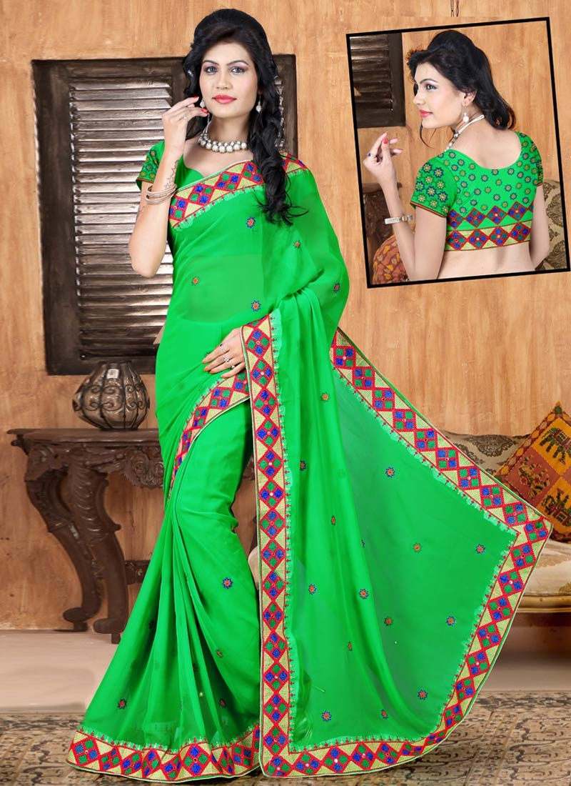 Engrossing Faux Georgette Party Wear Saree