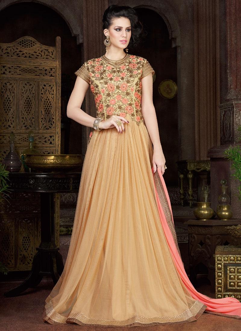 Engrossing Floral Work Floor Length Designer Salwar Kameez