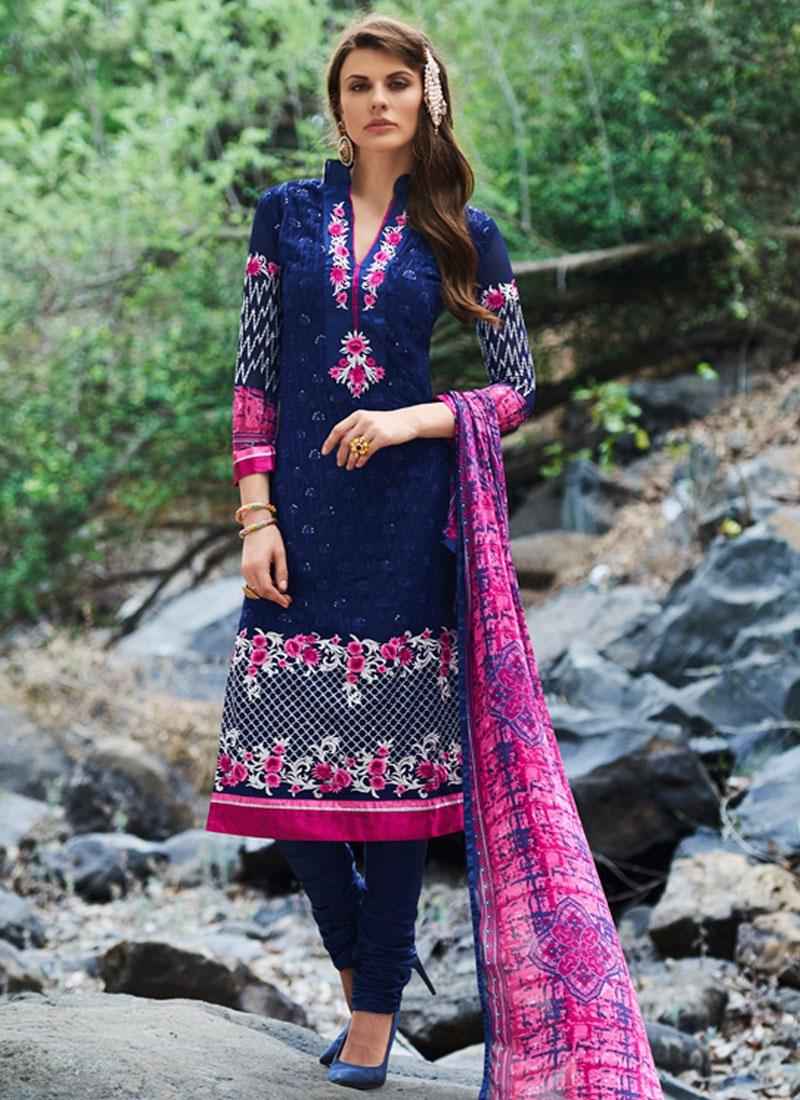 Engrossing Floral Work Party Wear Salwar Kameez