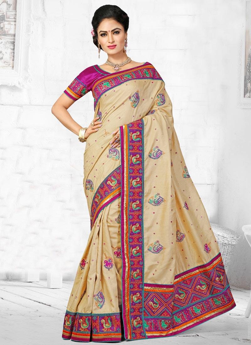 Engrossing Lace Work Manipuri Silk Wedding Saree