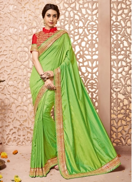 Engrossing Lace Work  Raw Silk Designer Contemporary Saree