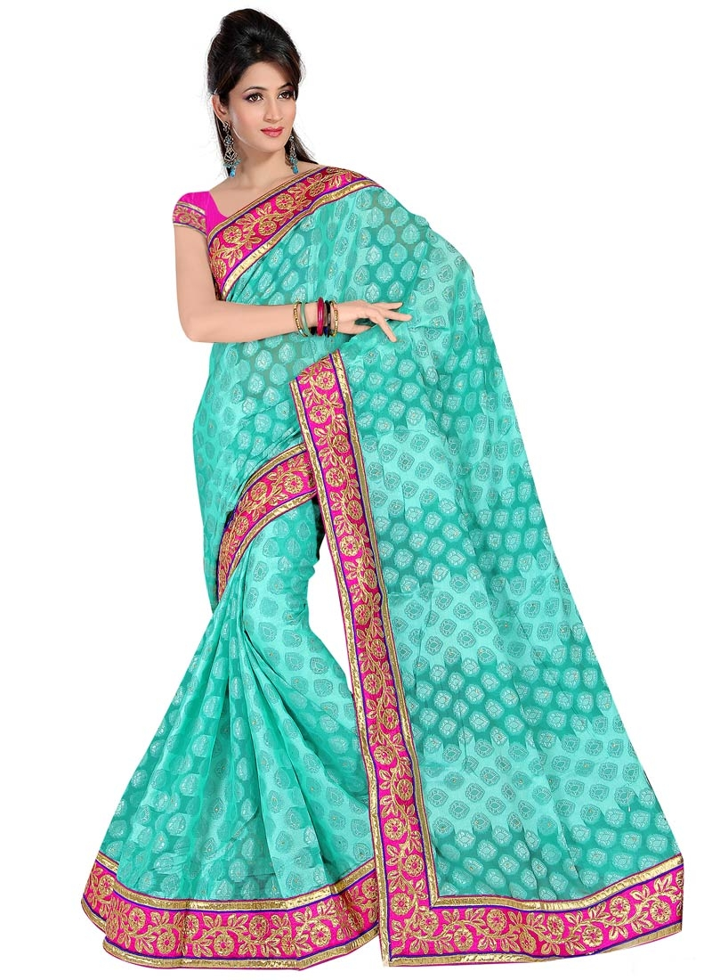 Engrossing Lace Work Viscose Party Wear Saree