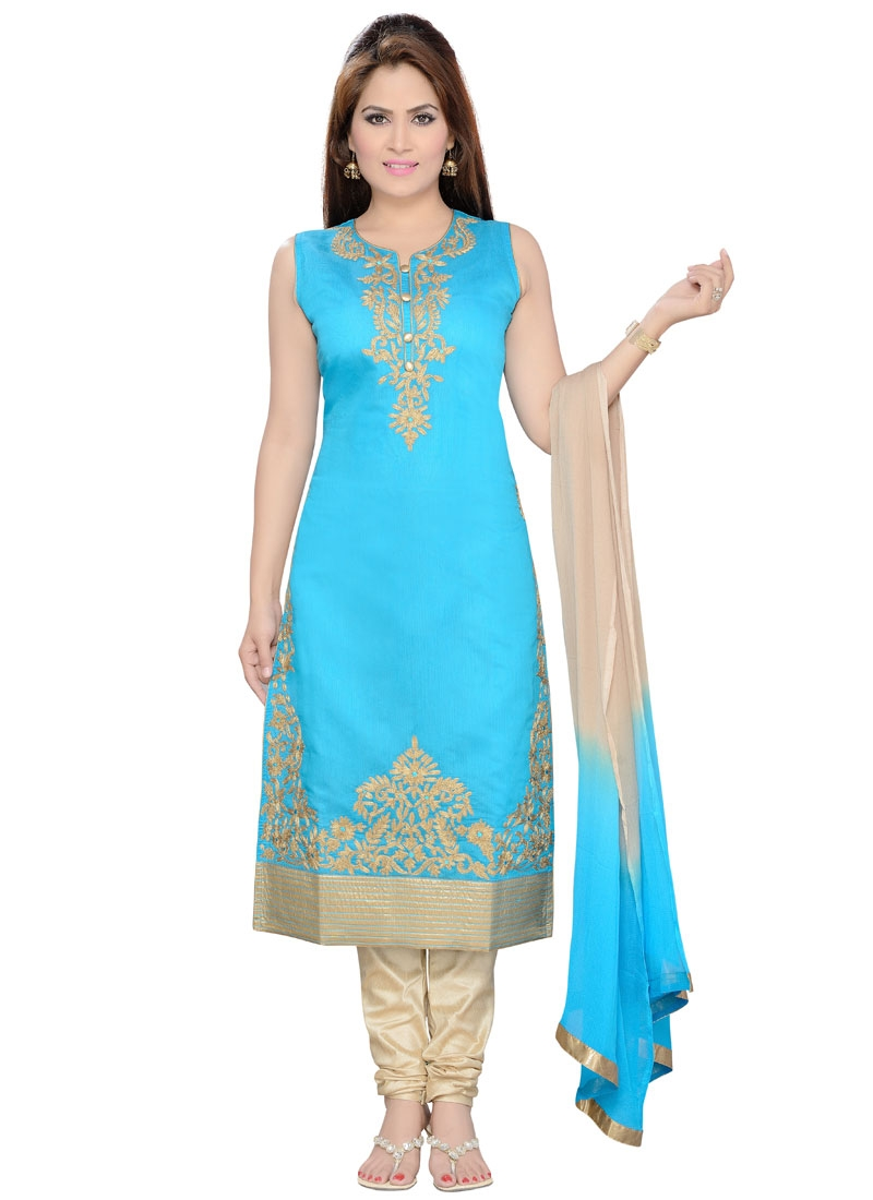 Engrossing Light Blue Color Party Wear Readymade Suit