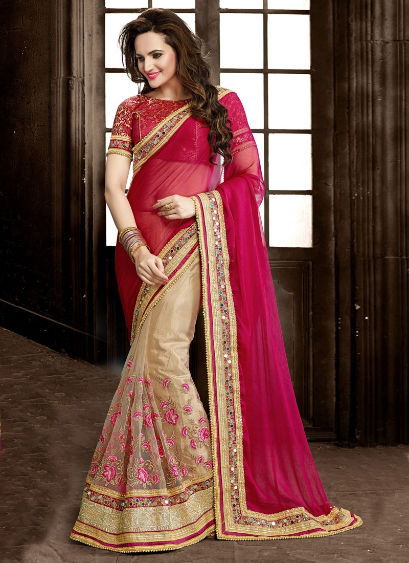 Engrossing Mirror And Floral Work Half N Half Wedding Saree