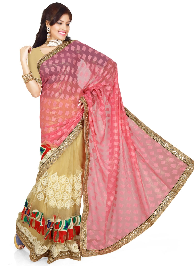 Engrossing Mirror And Lace Work Half N Half Designer Saree