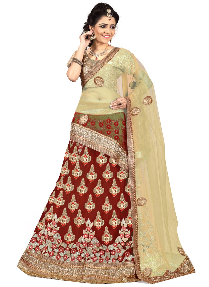 Engrossing Net Patch Border Work Wedding Lehenga Choli