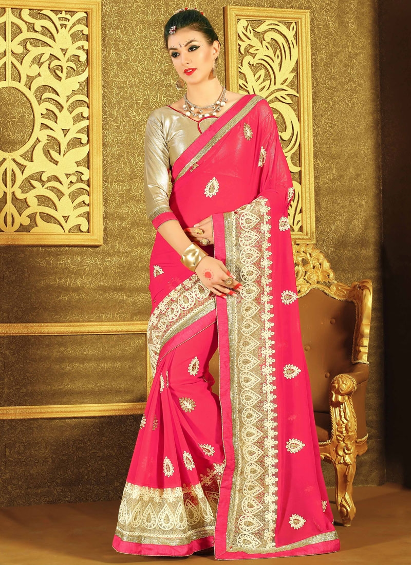 Engrossing Patch Border And Stone Work Designer Saree