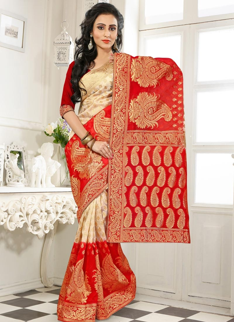 Engrossing Red And Cream Color Party Wear Saree