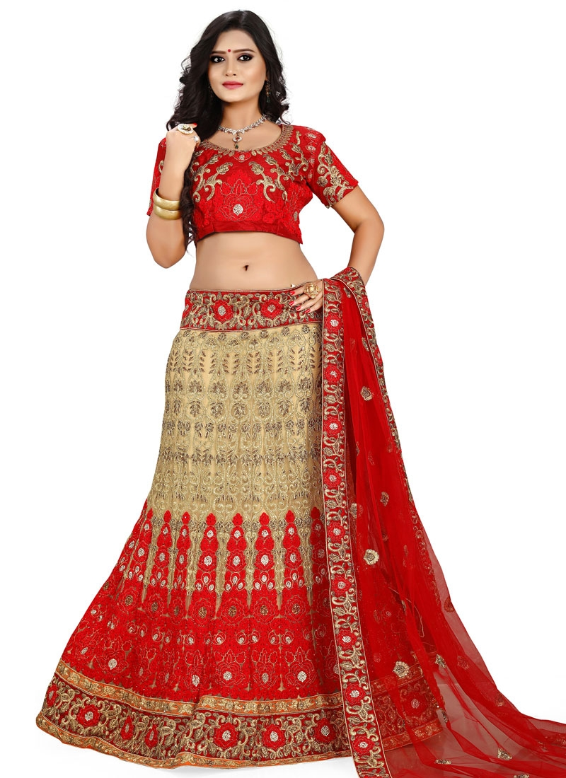 Engrossing Red Color Embroidery Work Bridal Lehenga Choli