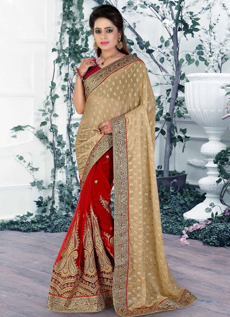 Engrossing Red Color Net Half N Half Wedding Saree