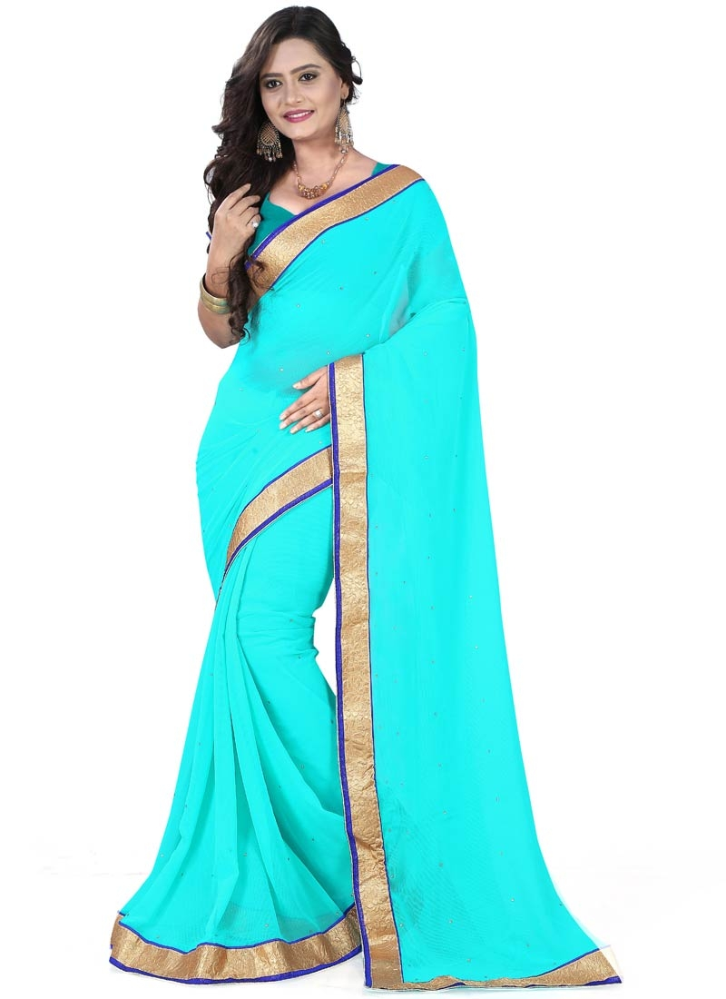 Engrossing Resham And Stone Work Casual Saree