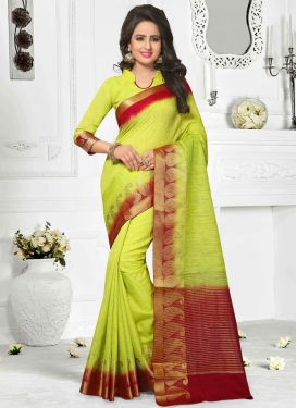 Engrossing  Resham Work Aloe Veera Green and Maroon Cotton Silk Traditional Saree