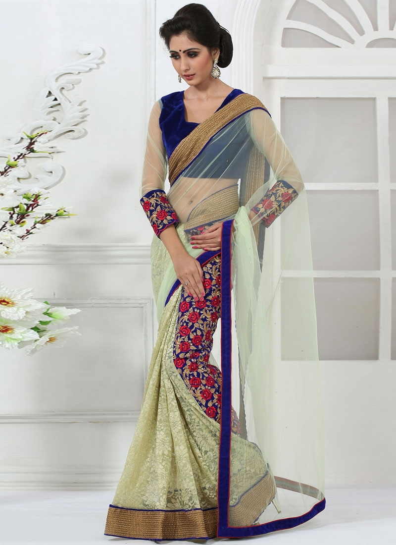 Engrossing Resham Work Party Wear Saree