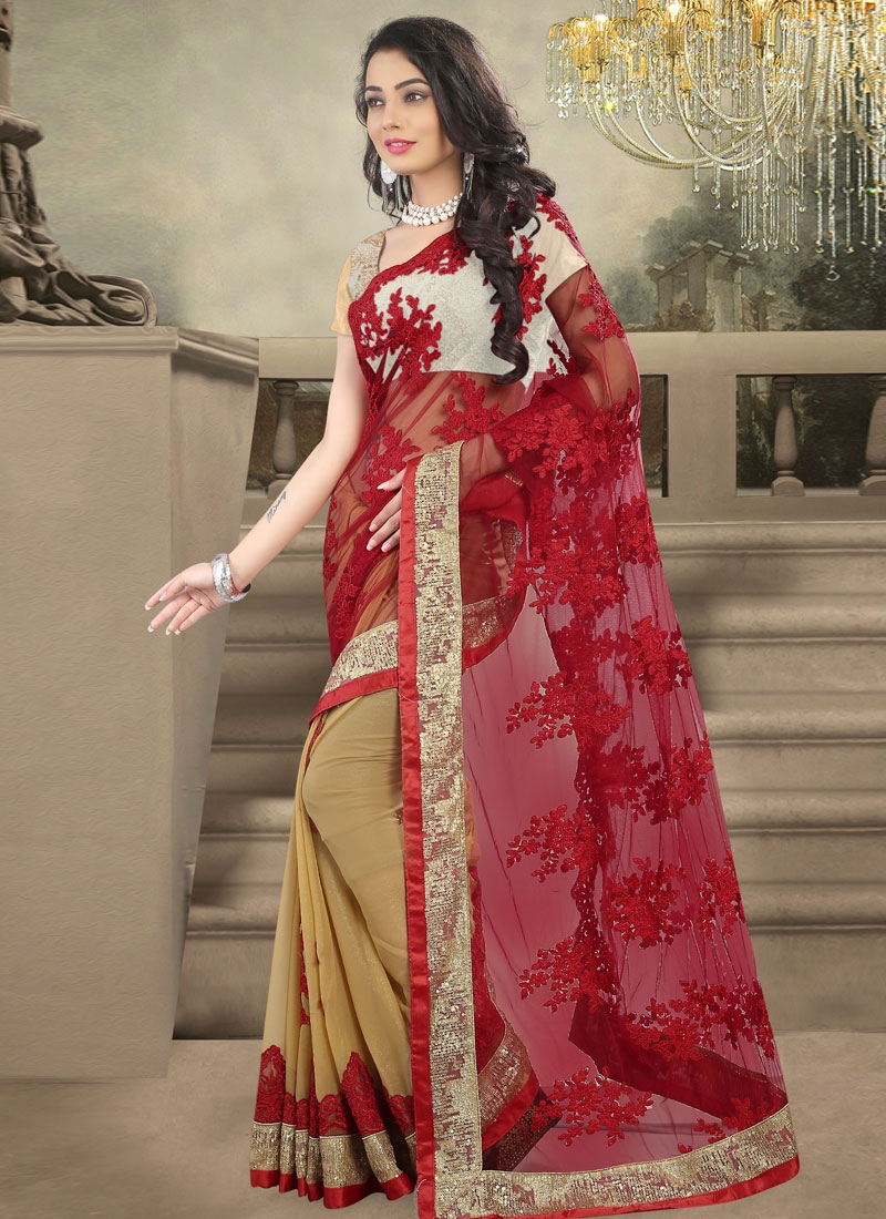 Engrossing Sequins And Embroidery Work Half N Half Wedding Saree