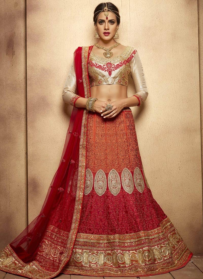 Engrossing Sequins And Stone Work Bridal Lehenga Choli