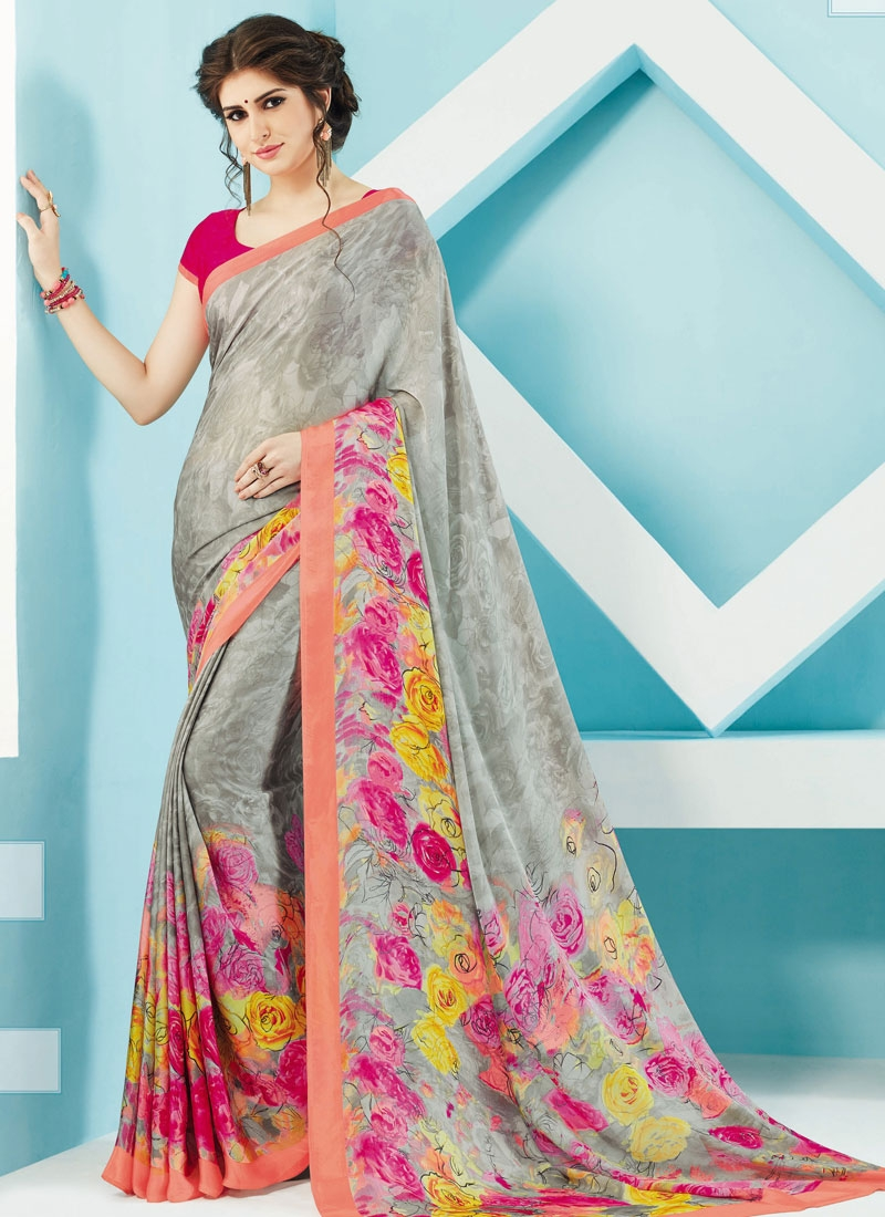 Engrossing Silver Color Casual Saree