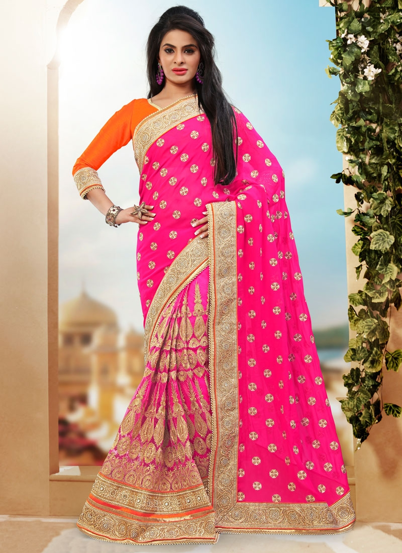 Engrossing Stone And Patch Border Work Bridal Saree