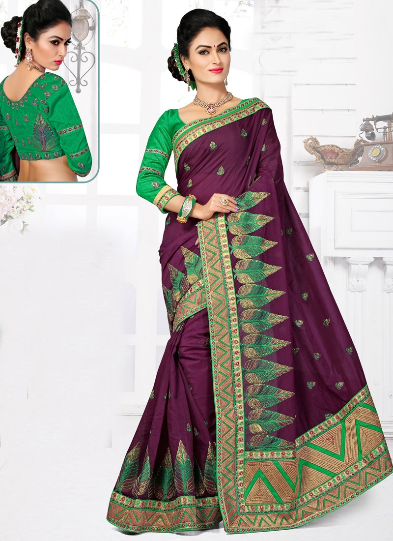 Engrossing Stone And Resham Work Designer Saree