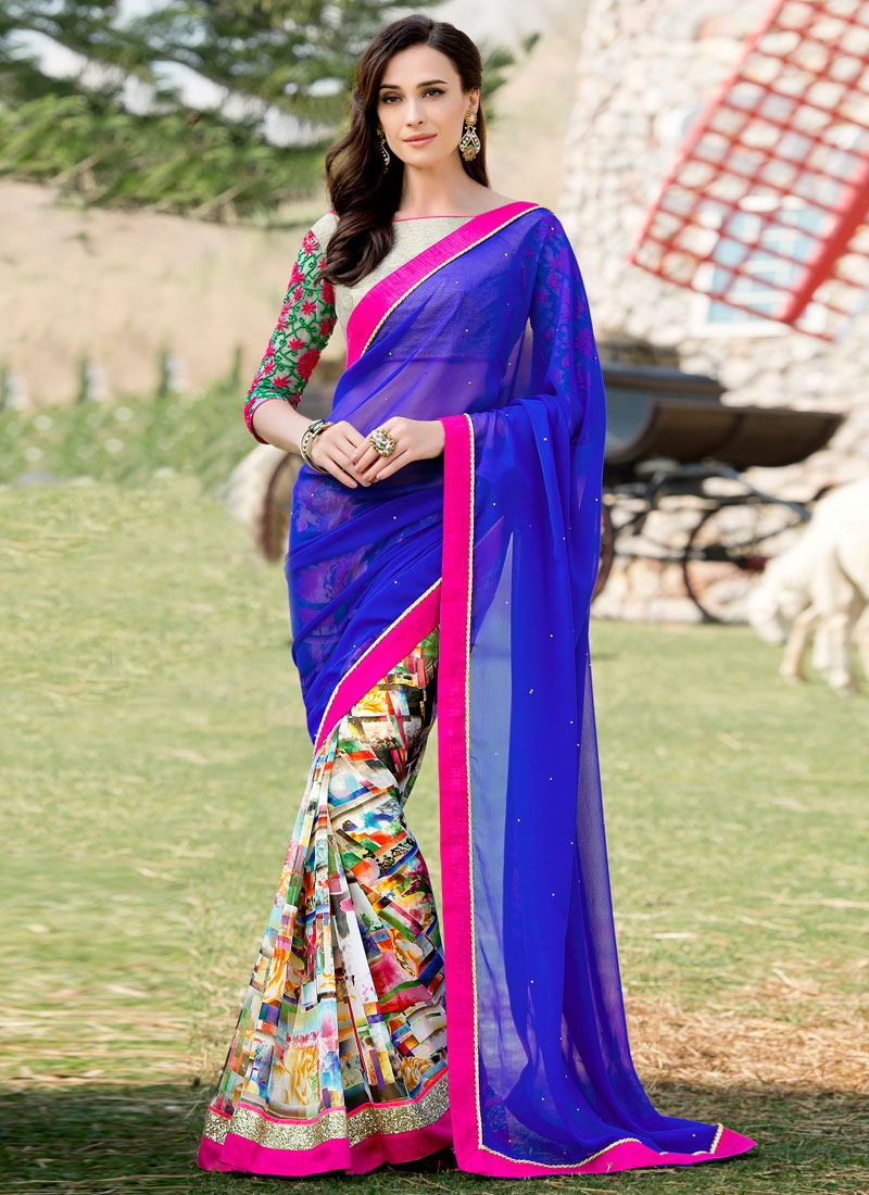 Engrossing Stone And Sequins Work Half N Half Party Wear Saree