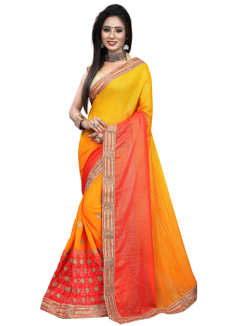 Engrossing Stone Work Faux Georgette Designer Saree