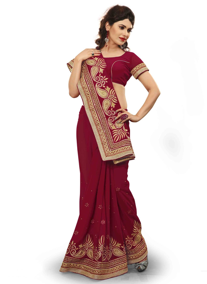 Engrossing Stone Work Faux Georgette Party Wear Saree