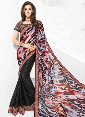 Engrossing Stone Work Jacquard Half N Half Party Wear Saree