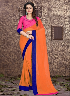 Engrossing Stone Work Orange Color Casual Saree