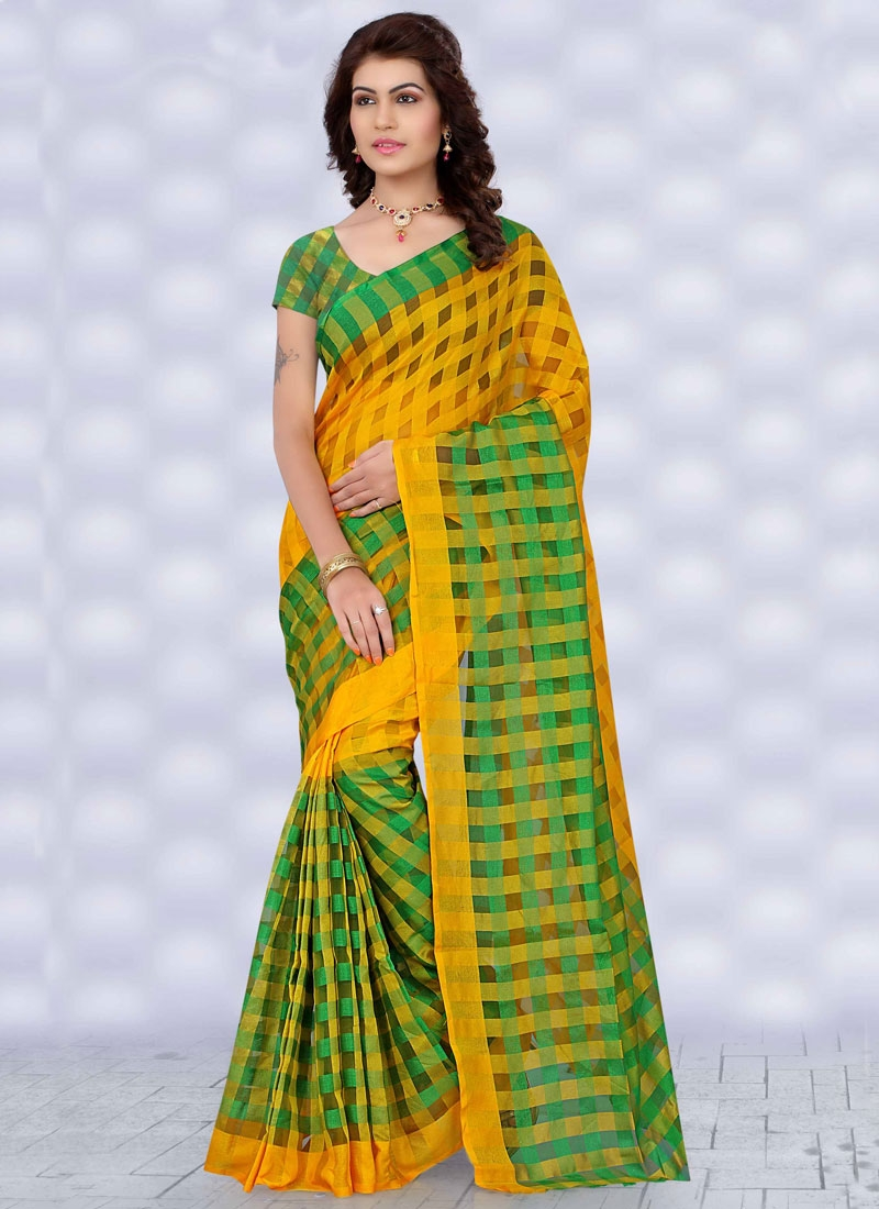 Engrossing Yellow And Green Color Casual Saree