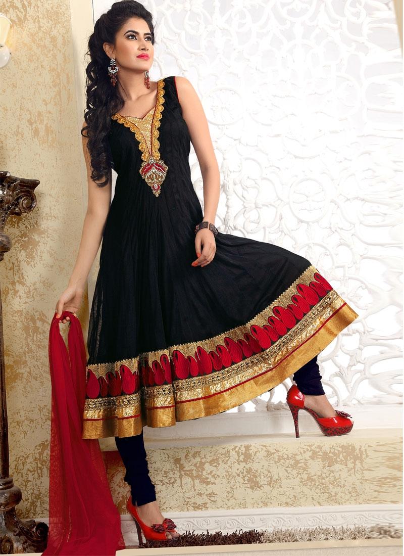 Enthralling Black And Red Salwar Kameez